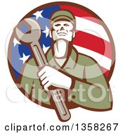 Clipart Of A Retro Male Mechanic Holding A Giant Wrench Over His Chest In An American Flag Circle Royalty Free Vector Illustration