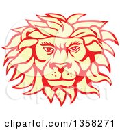 Clipart Of A Retro Pastel Yellow And Red Male Lion Face Royalty Free Vector Illustration