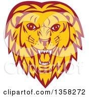 Clipart Of A Retro Angry Roaring Male Lion Face Royalty Free Vector Illustration by patrimonio