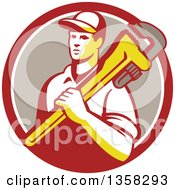 Clipart Of A Retro Male Plumber Holding A Giant Monkey Wrench Over His Shoulder In A Red White And Taupe Circle Royalty Free Vector Illustration
