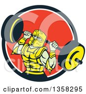 Clipart Of A Retro Muscular Knight In Full Armor Doing Squats And Working Out With A Barbell In A Black White And Red Circle Royalty Free Vector Illustration