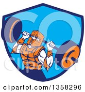 Clipart Of A Retro Muscular Knight In Full Armor Doing Squats And Working Out With A Barbell In A Blue Shield Royalty Free Vector Illustration