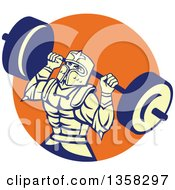 Clipart Of A Retro Muscular Knight In Full Armor Doing Squats And Working Out With A Barbell In An Orange Circle Royalty Free Vector Illustration