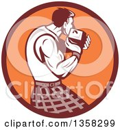 Clipart Of A Retro Scotsman Athlete Wearing A Kilt Playing A Highland Weight Throwing Game In A Brown And Orange Circle Royalty Free Vector Illustration