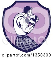 Clipart Of A Retro Scotsman Athlete Wearing A Kilt Playing A Highland Weight Throwing Game In A Purple Shield Royalty Free Vector Illustration