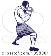 Retro Scotsman Athlete Wearing A Kilt Playing A Highland Weight Throwing Game