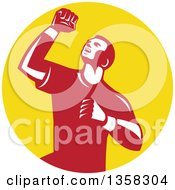 Clipart Of A Retro Male Athlete Doing A Fist Pump In A Yellow Circle Royalty Free Vector Illustration