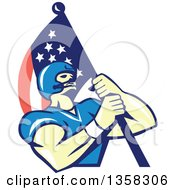 Clipart Of A Retro Cartoon White Male Gridiron American Football Player Carrying An American Flag Royalty Free Vector Illustration