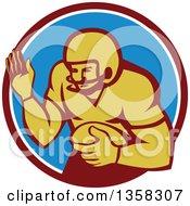Clipart Of A Retro Girdiron American Football Player Fending In A Circle Royalty Free Vector Illustration
