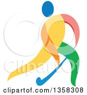 Clipart Of A Colorful Athlete Playing Field Hockey Royalty Free Vector Illustration by patrimonio