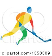 Clipart Of A Colorful Athlete Playing Ice Hockey Royalty Free Vector Illustration