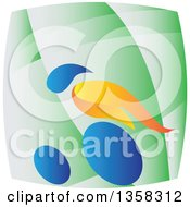 Clipart Of A Colorful Athlete Racing In A Wheelchair On A Green Square Royalty Free Vector Illustration