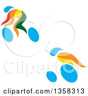 Clipart Of Colorful Athletes Racing In A Wheelchair And On A Bike Royalty Free Vector Illustration