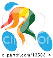 Clipart Of A Colorful Athlete Racing In A Wheelchair Or On A Bicycle Royalty Free Vector Illustration