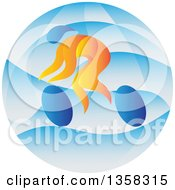 Clipart Of A Colorful Athlete Cyclist In A Blue Circle Royalty Free Vector Illustration