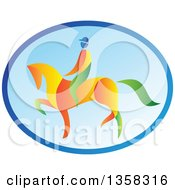 Clipart Of A Colorful Equestrian On A Horse In A Blue Oval Royalty Free Vector Illustration