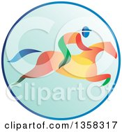 Clipart Of A Colorful Equestrian Racing A Horse In A Blue Circle Royalty Free Vector Illustration