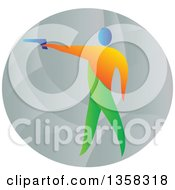Clipart Of A Colorful Athlete Shooting An Air Pistol In An Oval Royalty Free Vector Illustration by patrimonio