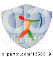 Clipart Of A Colorful Athlete Archery Bowman Aiming In A Shield Royalty Free Vector Illustration