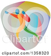 Clipart Of A Colorful Athlete Boxer Punching In A Shield Royalty Free Vector Illustration by patrimonio