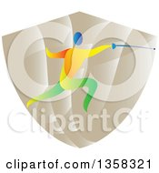 Clipart Of A Colorful Athlete Fencing In A Shield Royalty Free Vector Illustration
