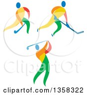 Clipart Of Colorful Athletes Playing Ice And Field Hockey And Golf Royalty Free Vector Illustration