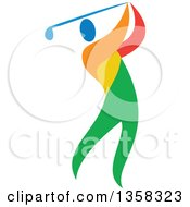 Clipart Of A Colorful Athlete Swinging A Golf Club Royalty Free Vector Illustration