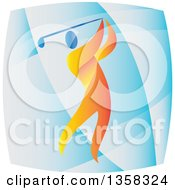 Clipart Of A Colorful Athlete Swinging A Golf Club In A Blue Square Royalty Free Vector Illustration
