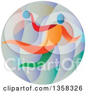 Clipart Of A Colorful Athlete Handball Player In A Circle Royalty Free Vector Illustration