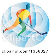 Clipart Of A Colorful Athlete Playing Ice Hockey In A Blue Oval Royalty Free Vector Illustration