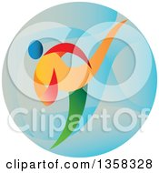 Clipart Of A Colorful Martial Arts Athlete Doing Taekwondo In A Blue Circle Royalty Free Vector Illustration