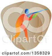 Clipart Of A Colorful Athlete Trap Shooting In A Shield Royalty Free Vector Illustration