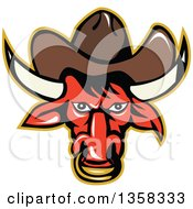 Poster, Art Print Of Retro Red Texas Longhorn Bull Wearing A Cowboy Hat And Nose Ring