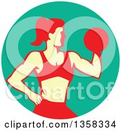Clipart Of A Retro Muscular Fit Woman Working Out With A Dumbbell And Doing Bicep Curls In A Turquoise Circle Royalty Free Vector Illustration by patrimonio