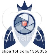 Clipart Of A Blue Crowned Fly Shutter Eye Camera With A Moon Crest In The Center Royalty Free Vector Illustration by patrimonio