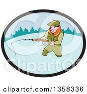 Clipart Of A Cartoon White Man Wading And Fly Fishing In An Oval Royalty Free Vector Illustration