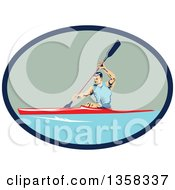 Retro White Man Kayaking In A Blue And Green Oval
