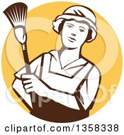 Clipart Of A Retro White And Brown Female Maid House Keeper Holding A Duster In A Yellow Circle Royalty Free Vector Illustration by patrimonio