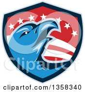 Clipart Of A Retro Blue Bald Eagle Head In An American Shield Royalty Free Vector Illustration