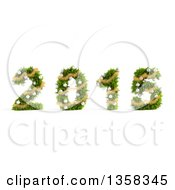 Clipart Of A 3d New Year 2015 Made Of Christmas Tree Branches Garlands And Baubles On A White Background Royalty Free Illustration by Mopic