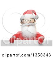 Clipart Of A 3d Bespectacled Christmas Santa Claus Over A Sign On A White Background Royalty Free Illustration
