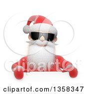 Clipart Of A 3d Christmas Santa Claus Wearing Sunglasses Over A Sign On A White Background Royalty Free Illustration