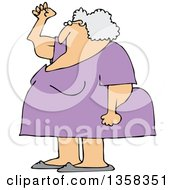 Clipart Of A Cartoon Chubby Senior White Woman Holding Up A Fist With Her Arms Sagging Royalty Free Vector Illustration