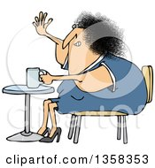 Cartoon Chubby White Woman Sitting With Coffee At A Table And Waving