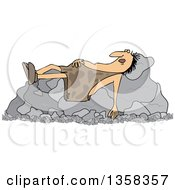Clipart Of A Cartoon Chubby Caveman Sleeping On Boulders Royalty Free Vector Illustration