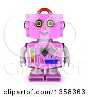 3d Retro Pink Female Robot Smiling On A White Background