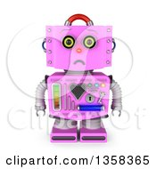 Clipart Of A 3d Sad Retro Pink Female Robot Pouting On A White Background Royalty Free Illustration by stockillustrations