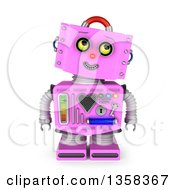 Clipart Of A 3d Retro Pink Female Robot Looking Up To The Right On A White Background Royalty Free Illustration by stockillustrations