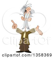 Clipart Of A Cartoon Caucasian Male Professor Presenting And Holding Up A Finger Royalty Free Vector Illustration