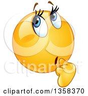 Clipart Of A Cartoon Yellow Female Emoji Smiley Emoticon Wondering Royalty Free Vector Illustration